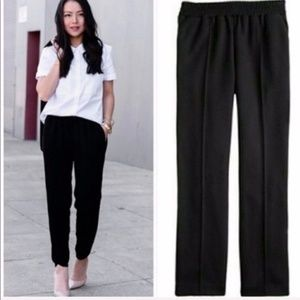 J. Crew Tailored Wool Pull-On Pants in Black